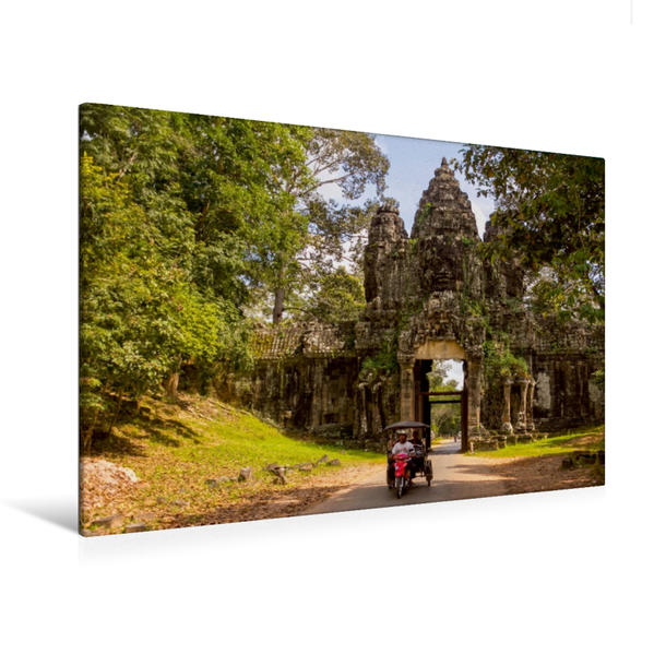 Premium Textil-Leinwand 120 cm x 80 cm quer, Das Osttor zur Tempelstadt Angkor Thom | Wandbild, Bild auf Keilrahmen, Fertigbild auf echter Leinwand, Leinwanddruck - Coverbild