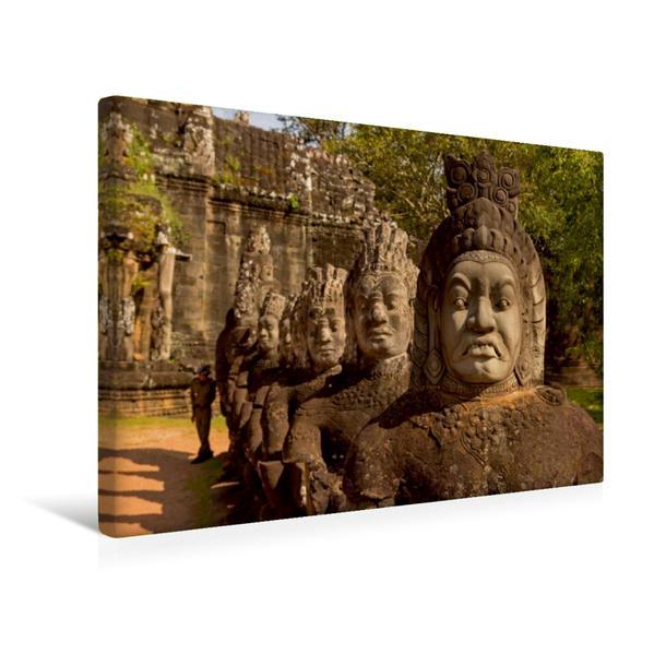 Premium Textil-Leinwand 45 cm x 30 cm quer, Dämonenbalustrade am Südtor von Angkor Thom | Wandbild, Bild auf Keilrahmen, Fertigbild auf echter Leinwand, Leinwanddruck - Coverbild