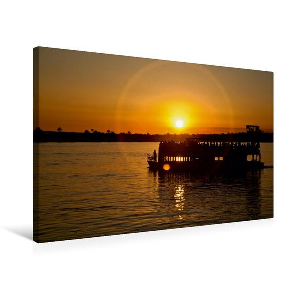 Premium Textil-Leinwand 75 cm x 50 cm quer, Sonnenuntergang auf dem Sambesi   Wandbild, Bild auf Keilrahmen, Fertigbild auf echter Leinwand, Leinwanddruck - Coverbild