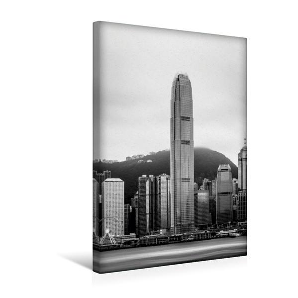 Premium Textil-Leinwand 30 cm x 45 cm hoch, Ein Motiv aus dem Kalender Hongkong schwarzweiß | Wandbild, Bild auf Keilrahmen, Fertigbild auf echter Leinwand, Leinwanddruck - Coverbild