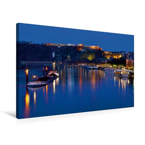 Premium Textil-Leinwand 75 cm x 50 cm quer, Koblenz | Wandbild, Bild auf Keilrahmen, Fertigbild auf echter Leinwand, Leinwanddruck - Coverbild