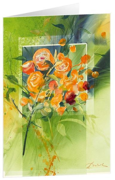 Rosen, orange - Kunst-Faltkarten ohne Text (5 Stück) - Coverbild