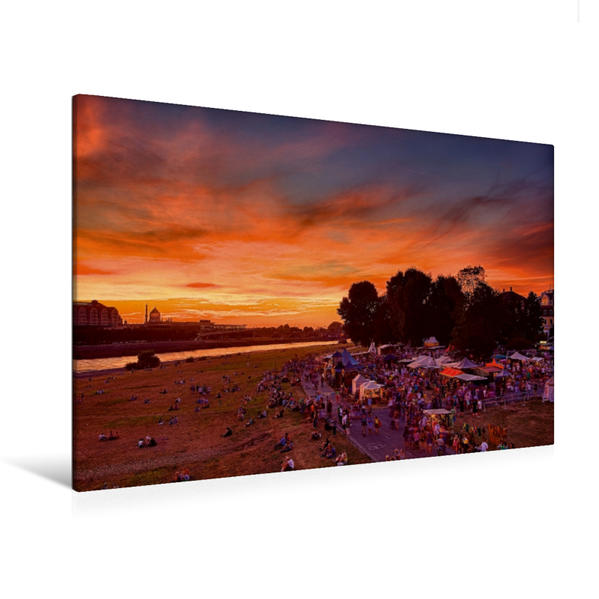 Premium Textil-Leinwand 120 cm x 80 cm quer, Stadtfest in Dresden | Wandbild, Bild auf Keilrahmen, Fertigbild auf echter Leinwand, Leinwanddruck - Coverbild