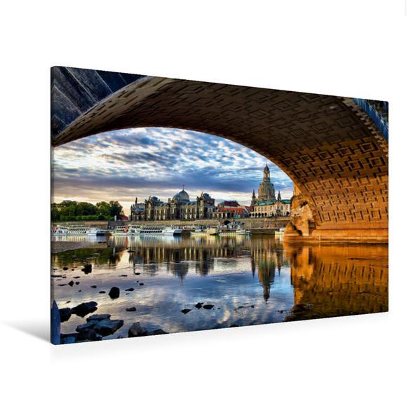 Premium Textil-Leinwand 120 cm x 80 cm quer, Unter der Augustusbrücke | Wandbild, Bild auf Keilrahmen, Fertigbild auf echter Leinwand, Leinwanddruck - Coverbild