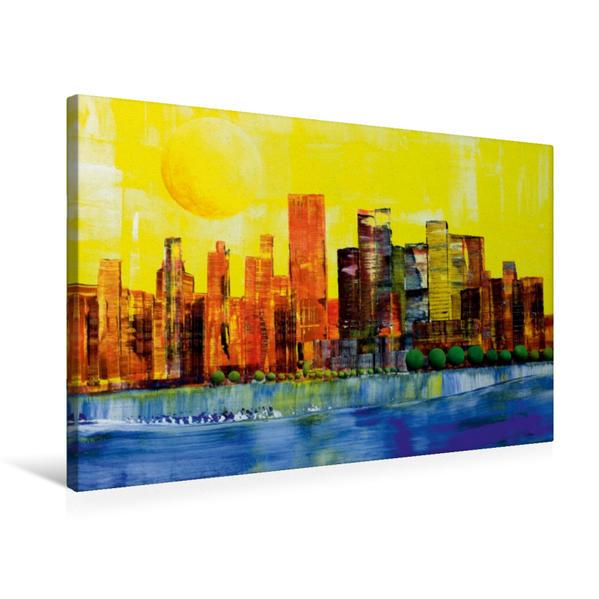 Premium Textil-Leinwand 75 cm x 50 cm quer, Sonne über New York | Wandbild, Bild auf Keilrahmen, Fertigbild auf echter Leinwand, Leinwanddruck - Coverbild