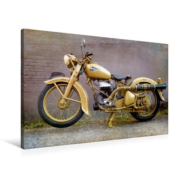 Premium Textil-Leinwand 90 cm x 60 cm quer, Ein Motiv aus dem Kalender Motorrad Oldtimer   Wandbild, Bild auf Keilrahmen, Fertigbild auf echter Leinwand, Leinwanddruck - Coverbild
