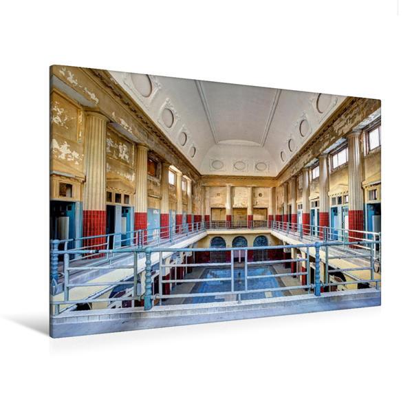 Premium Textil-Leinwand 120 cm x 80 cm quer, Blick in die Schwimmhalle   Wandbild, Bild auf Keilrahmen, Fertigbild auf echter Leinwand, Leinwanddruck - Coverbild