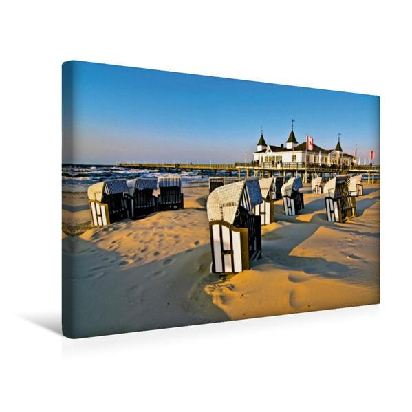 Premium Textil-Leinwand 45 cm x 30 cm quer, Seebrücke Ahlbeck in der Abendsonne | Wandbild, Bild auf Keilrahmen, Fertigbild auf echter Leinwand, Leinwanddruck - Coverbild