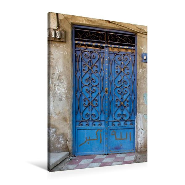 Premium Textil-Leinwand 60 cm x 90 cm hoch, Blaue Tür | Wandbild, Bild auf Keilrahmen, Fertigbild auf echter Leinwand, Leinwanddruck - Coverbild