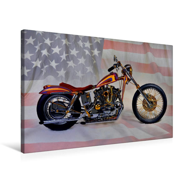 Premium Textil-Leinwand 75 cm x 50 cm quer, Ein Motiv aus dem Kalender Harley Classic Chopper | Wandbild, Bild auf Keilrahmen, Fertigbild auf echter Leinwand, Leinwanddruck - Coverbild
