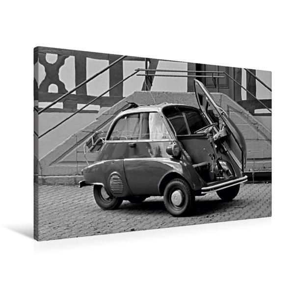 Premium Textil-Leinwand 90 cm x 60 cm quer, Ein Motiv aus dem Kalender BMW Isetta 300 in schwarzweiß | Wandbild, Bild auf Keilrahmen, Fertigbild auf echter Leinwand, Leinwanddruck - Coverbild