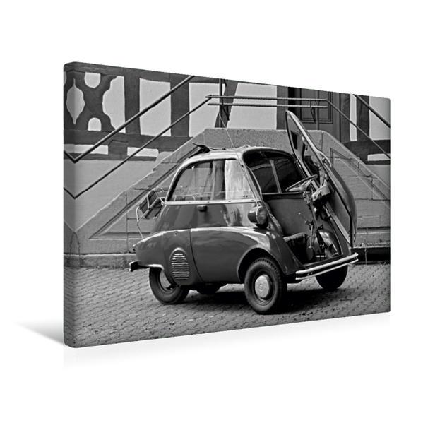 Premium Textil-Leinwand 45 cm x 30 cm quer, Ein Motiv aus dem Kalender BMW Isetta 300 in schwarzweiß | Wandbild, Bild auf Keilrahmen, Fertigbild auf echter Leinwand, Leinwanddruck - Coverbild