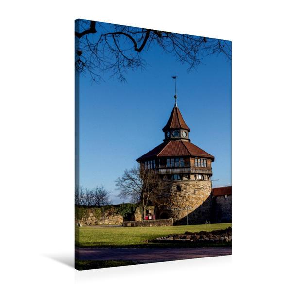 Premium Textil-Leinwand 60 cm x 90 cm hoch, Esslingen am Neckar   Wandbild, Bild auf Keilrahmen, Fertigbild auf echter Leinwand, Leinwanddruck - Coverbild