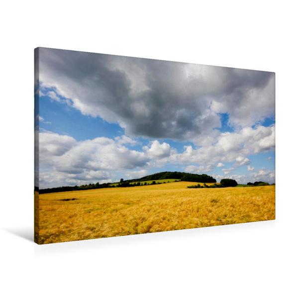 Premium Textil-Leinwand 90 cm x 60 cm quer, Getreidefeld mit malerischem Himmel | Wandbild, Bild auf Keilrahmen, Fertigbild auf echter Leinwand, Leinwanddruck - Coverbild