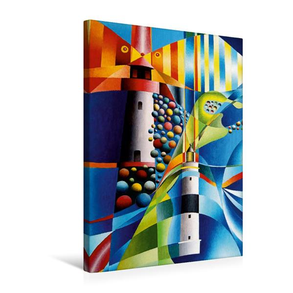 Premium Textil-Leinwand 50 cm x 75 cm hoch, Leuchtturm List West und Leuchtturm Karpen, Sylt | Wandbild, Bild auf Keilrahmen, Fertigbild auf echter Leinwand, Leinwanddruck - Coverbild