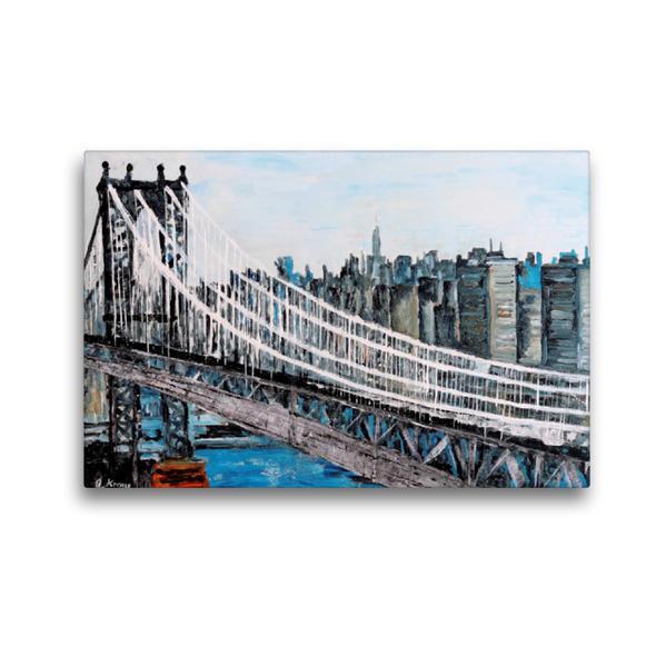 Premium Textil-Leinwand 45 cm x 30 cm quer, Brooklyn Bridge | Wandbild, Bild auf Keilrahmen, Fertigbild auf echter Leinwand, Leinwanddruck - Coverbild