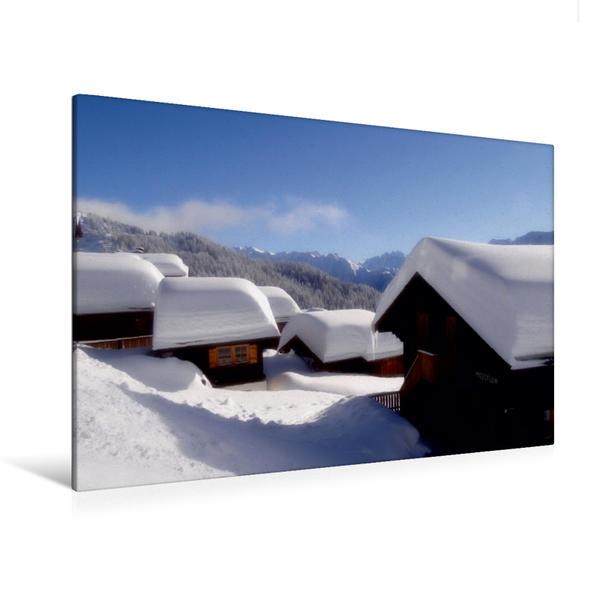 Premium Textil-Leinwand 120 cm x 80 cm quer, Auf der Bettmeralp / Wallis | Wandbild, Bild auf Keilrahmen, Fertigbild auf echter Leinwand, Leinwanddruck - Coverbild