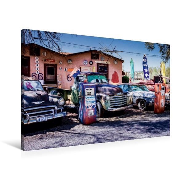 Premium Textil-Leinwand 90 cm x 60 cm quer, Seligman, Route 66 | Wandbild, Bild auf Keilrahmen, Fertigbild auf echter Leinwand, Leinwanddruck - Coverbild