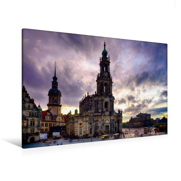 Premium Textil-Leinwand 120 cm x 80 cm quer, Kathedrale von Dresden | Wandbild, Bild auf Keilrahmen, Fertigbild auf echter Leinwand, Leinwanddruck - Coverbild