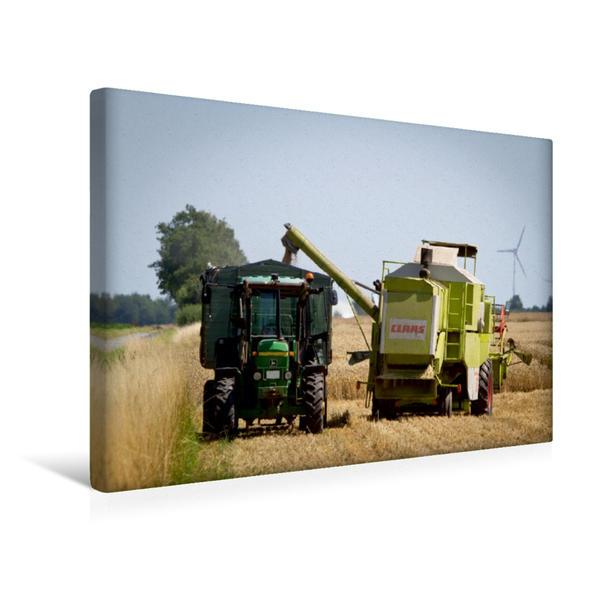 Premium Textil-Leinwand 45 cm x 30 cm quer, Weizenernte wird verladen   Wandbild, Bild auf Keilrahmen, Fertigbild auf echter Leinwand, Leinwanddruck - Coverbild
