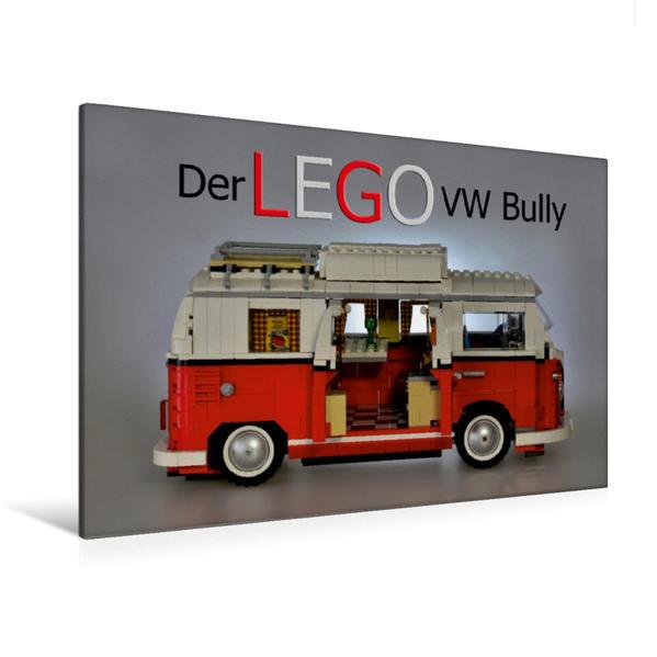 Premium Textil-Leinwand 120 cm x 80 cm quer, Ein Motiv aus dem Kalender Der LEGO VW Bully | Wandbild, Bild auf Keilrahmen, Fertigbild auf echter Leinwand, Leinwanddruck - Coverbild