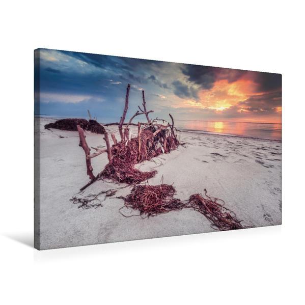 Premium Textil-Leinwand 75 cm x 50 cm quer, Idylle am Weststrand | Wandbild, Bild auf Keilrahmen, Fertigbild auf echter Leinwand, Leinwanddruck - Coverbild