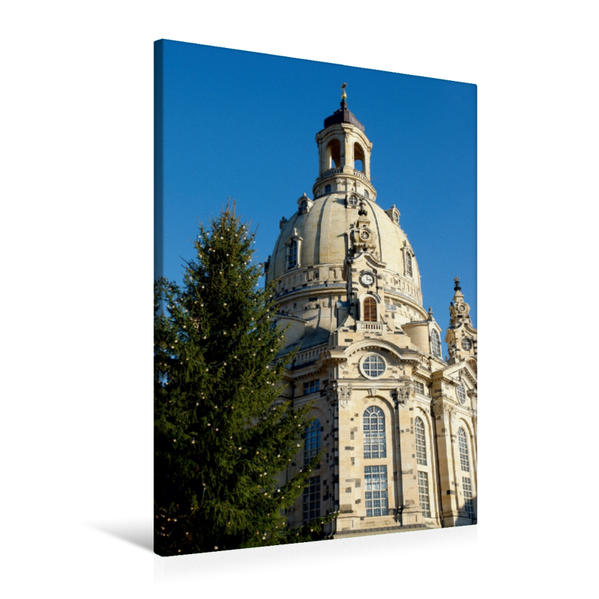 Premium Textil-Leinwand 60 cm x 90 cm hoch, Ein Motiv aus dem Kalender Frauenkirche Dresden | Wandbild, Bild auf Keilrahmen, Fertigbild auf echter Leinwand, Leinwanddruck - Coverbild
