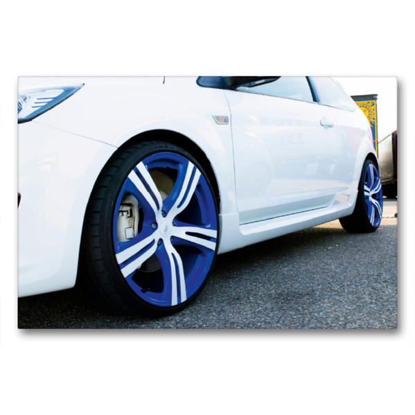 Premium Textil-Leinwand 90 cm x 60 cm quer, Alufelge im Forddesign | Wandbild, Bild auf Keilrahmen, Fertigbild auf echter Leinwand, Leinwanddruck - Coverbild
