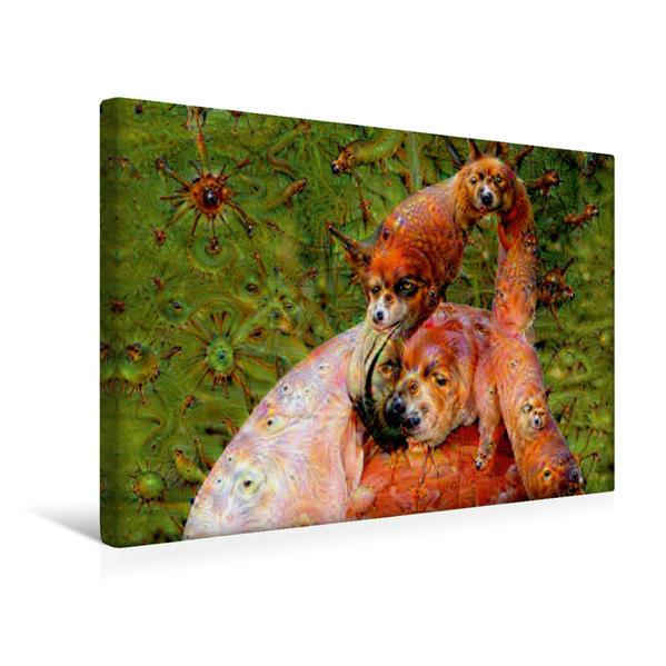 Premium Textil-Leinwand 45 cm x 30 cm quer, Flamingo mit Traumgeschöpfen | Wandbild, Bild auf Keilrahmen, Fertigbild auf echter Leinwand, Leinwanddruck - Coverbild