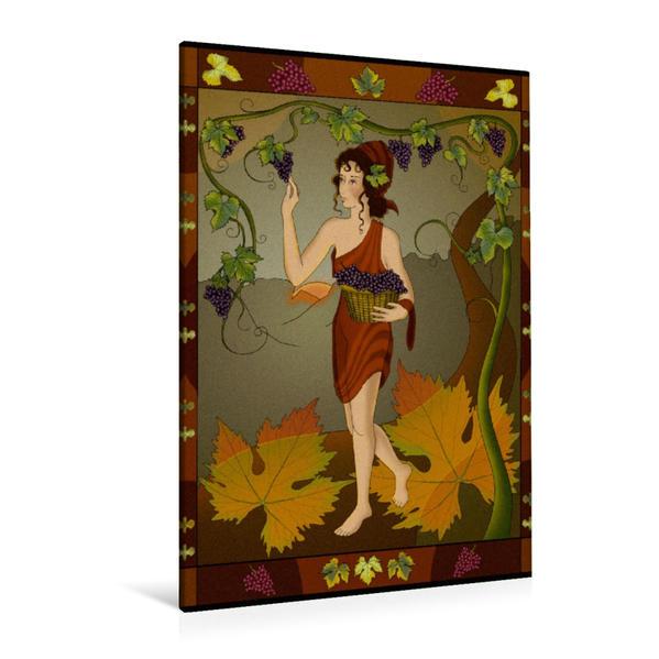Premium Textil-Leinwand 80 cm x 120 cm  hoch, Die Weinernte | Wandbild, Bild auf Keilrahmen, Fertigbild auf echter Leinwand, Leinwanddruck - Coverbild