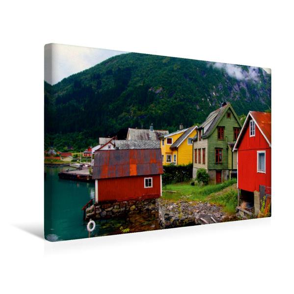 Premium Textil-Leinwand 45 cm x 30 cm quer, Traditionelle Holzhäuser | Wandbild, Bild auf Keilrahmen, Fertigbild auf echter Leinwand, Leinwanddruck - Coverbild