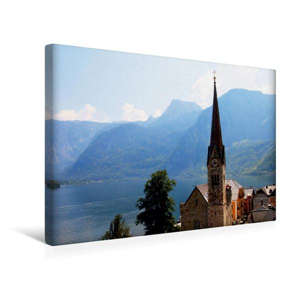 Premium Textil-Leinwand 45 cm x 30 cm quer, Blick auf die evangelische Kirche | Wandbild, Bild auf Keilrahmen, Fertigbild auf echter Leinwand, Leinwanddruck - Coverbild
