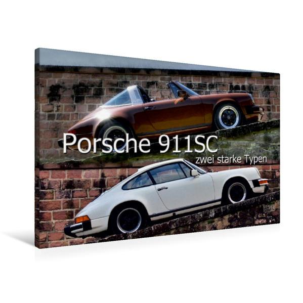 Premium Textil-Leinwand 90 cm x 60 cm quer, Ein Motiv aus dem Kalender Porsche 911SC - zwei starke Typen | Wandbild, Bild auf Keilrahmen, Fertigbild auf echter Leinwand, Leinwanddruck - Coverbild