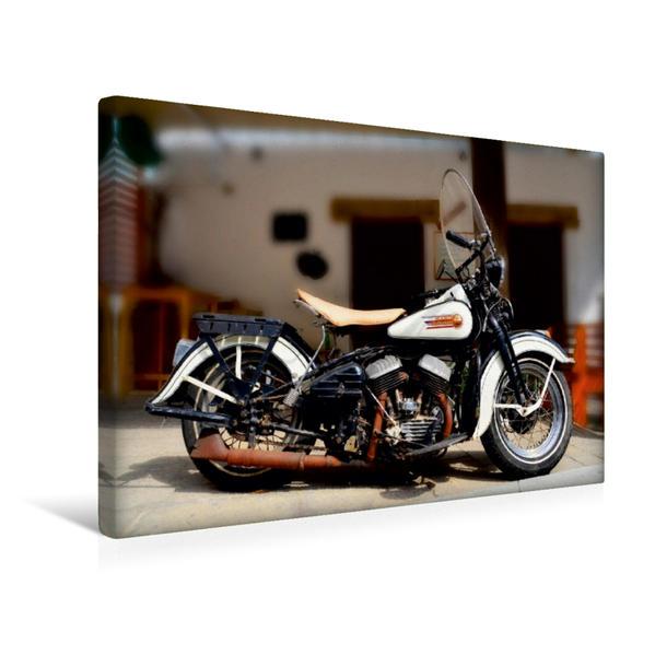 Premium Textil-Leinwand 45 cm x 30 cm quer, Ein Motiv aus dem Kalender Harley Davidson WLA 750 | Wandbild, Bild auf Keilrahmen, Fertigbild auf echter Leinwand, Leinwanddruck - Coverbild