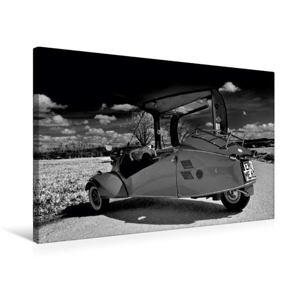 Premium Textil-Leinwand 75 cm x 50 cm quer, Ein Motiv aus dem Kalender Messerschmitt KR 200 in schwarzweiß | Wandbild, Bild auf Keilrahmen, Fertigbild auf echter Leinwand, Leinwanddruck - Coverbild