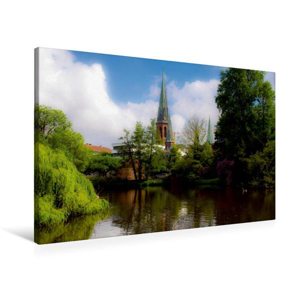Premium Textil-Leinwand 90 cm x 60 cm quer, Blick auf die Lambertikirche | Wandbild, Bild auf Keilrahmen, Fertigbild auf echter Leinwand, Leinwanddruck - Coverbild