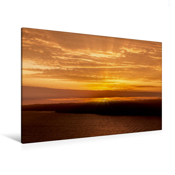 Premium Textil-Leinwand 120 cm x 80 cm quer, Schweden Sonnenaufgang | Wandbild, Bild auf Keilrahmen, Fertigbild auf echter Leinwand, Leinwanddruck - Coverbild