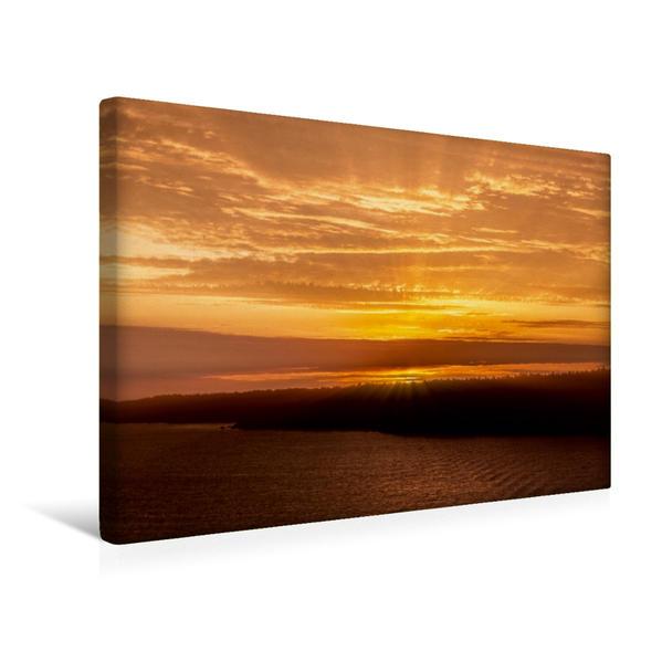 Premium Textil-Leinwand 45 cm x 30 cm quer, Schweden Sonnenaufgang | Wandbild, Bild auf Keilrahmen, Fertigbild auf echter Leinwand, Leinwanddruck - Coverbild