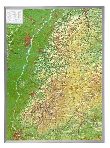 Relief Schwarzwald 1:200.000  mit Aluminiumrahmen - Coverbild