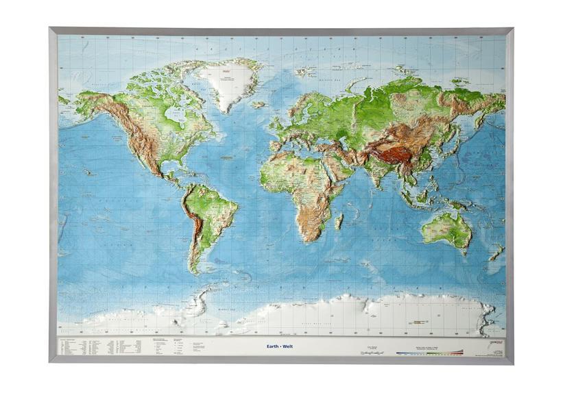 Relief Welt groß mit Aluminiumrahmen englisch (1:53 000 000) - Coverbild
