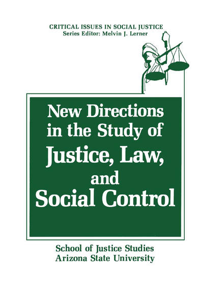 New Directions in the Study of Justice, Law, and Social Control - Coverbild