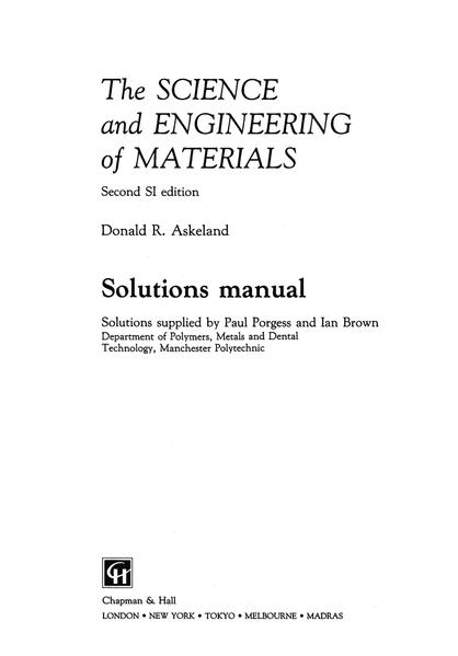The Science and Engineering of Materials - Coverbild