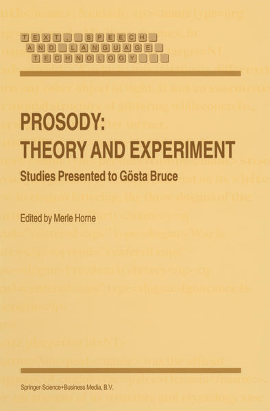 Prosody: Theory and Experiment - Coverbild