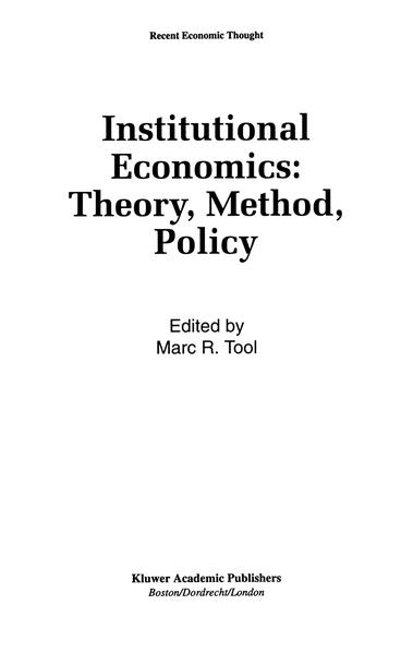 Institutional Economics: Theory, Method, Policy - Coverbild