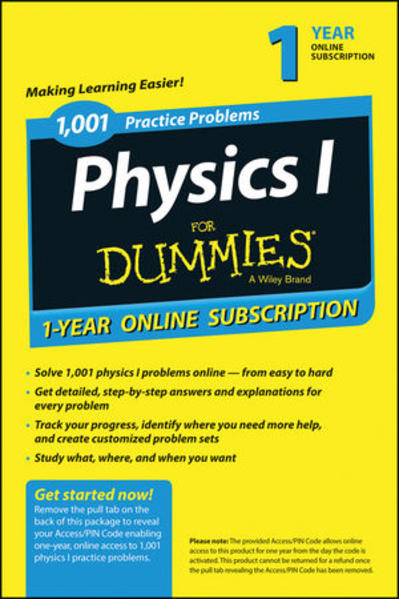 1,001 Physics I Practice Problems For Dummies Access Code Card (1-Year Subscription) - Coverbild