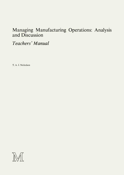 Managing Manufacturing Operations: Analysis and Discussion - Coverbild