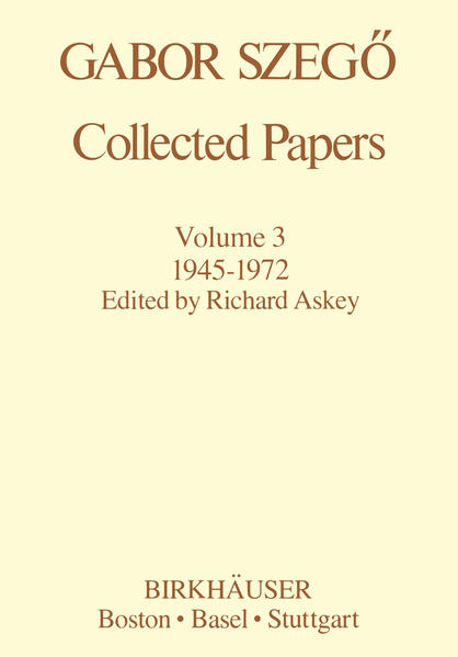 Gabor Szegö: Collected Papers - Coverbild