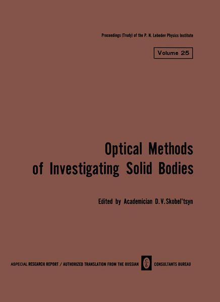 Volume 25: Optical Methods of Investigating Solid Bodies - Coverbild