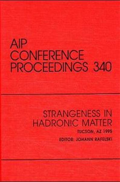 Strangeness in Hadronic Matter - Coverbild