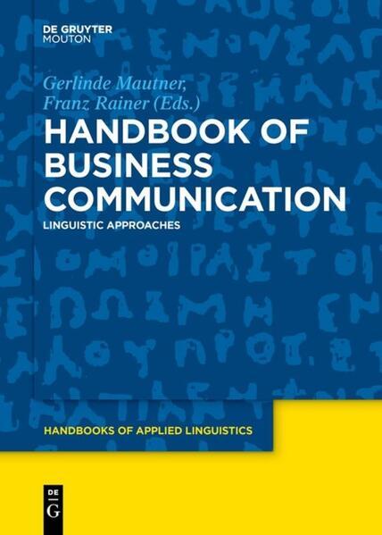 Handbook of Business Communication - Coverbild